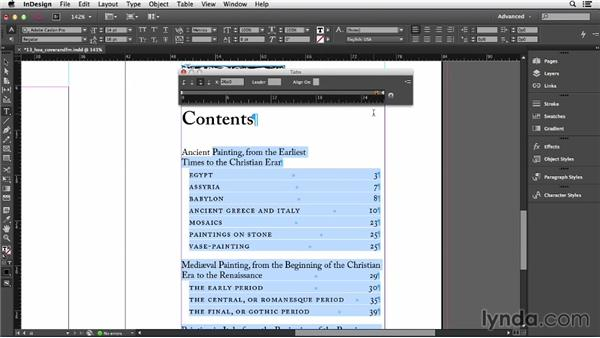 Setting tabs: InDesign CC Essential Training (2013)