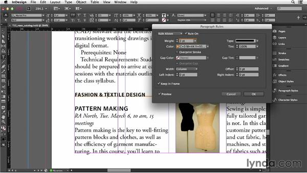 Adding rules (lines) above or below a paragraph: InDesign CC Essential Training (2013)