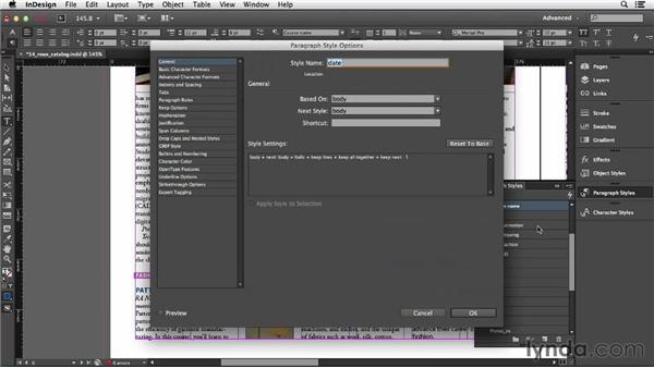 Creating and applying paragraph styles: InDesign CC Essential Training (2013)