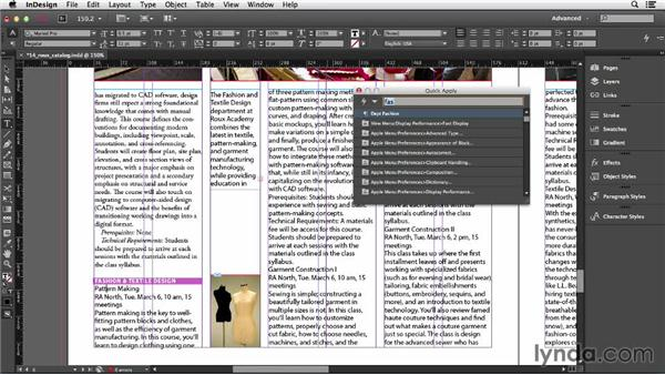 Applying styles with Quick Apply: InDesign CC Essential Training (2013)
