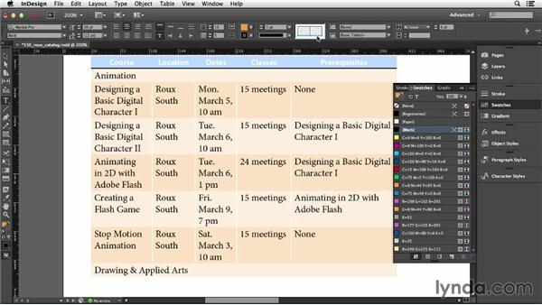 Formatting cells: InDesign CC Essential Training (2013)