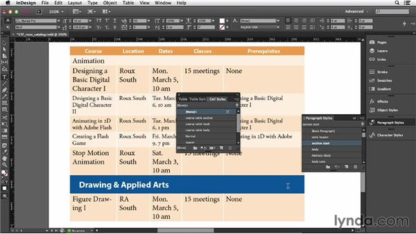 Applying table styles: InDesign CC Essential Training (2013)