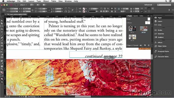 "Creating a ""Continued on..."" jump line: InDesign CC Essential Training (2013)"