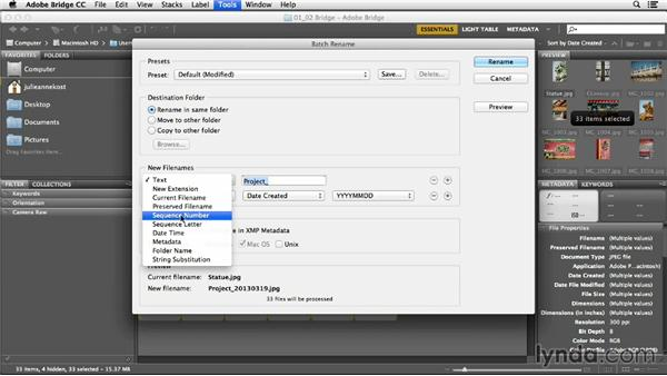 Changing file names and batch renaming: Photoshop CC Essential Training (2013)