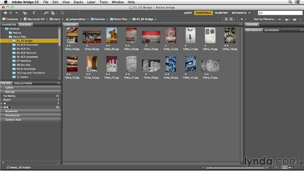 Using the Filter panel to view different subsets: Photoshop CC Essential Training (2013)