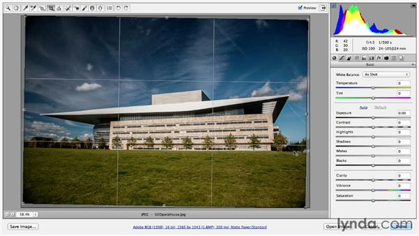 Correcting a tilted horizon line with the Straighten tool: Photoshop CC Essential Training (2013)
