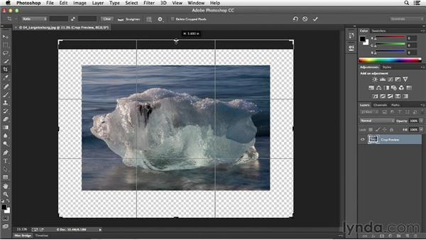 Making the canvas bigger with the Crop tool: Photoshop CC Essential Training (2013)