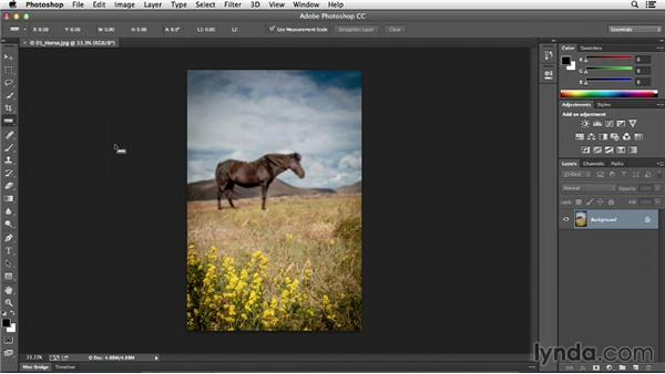 Straightening a crooked image: Photoshop CC Essential Training (2013)