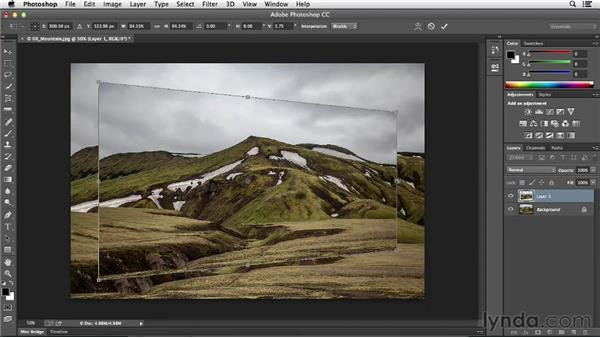 Scaling, skewing, and rotating with Free Transform: Photoshop CC Essential Training (2013)