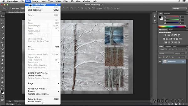 Merging, rasterizing, and flattening layers: Photoshop CC Essential Training (2013)