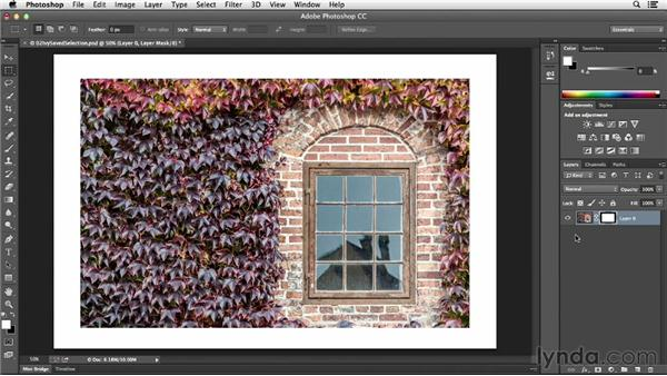 Converting a selection into a layer mask: Photoshop CC Essential Training (2013)