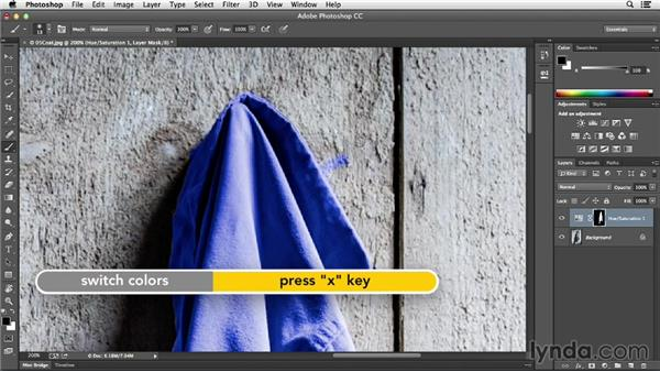 Touching up a layer mask with the Brush tool: Photoshop CC Essential Training (2013)