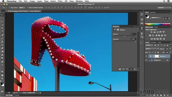 Making washed-out colors pop with Vibrance: Photoshop CC Essential Training (2013)