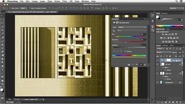 Controlling which layers are affected by an adjustment layer: Photoshop CC Essential Training (2013)