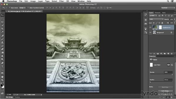 Using a gradient fill layer to add a color wash: Photoshop CC Essential Training (2013)