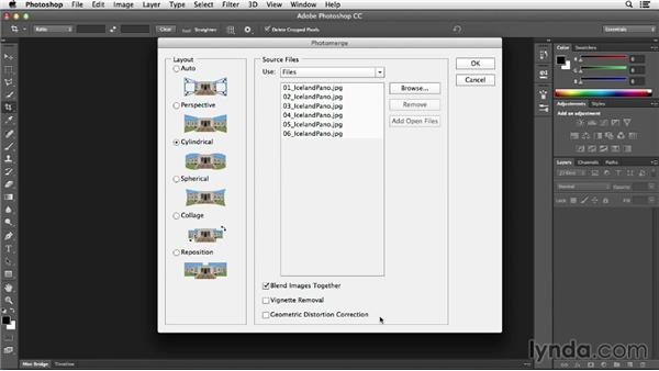 Creating panoramas with Photomerge and Auto-Blend: Photoshop CC Essential Training (2013)