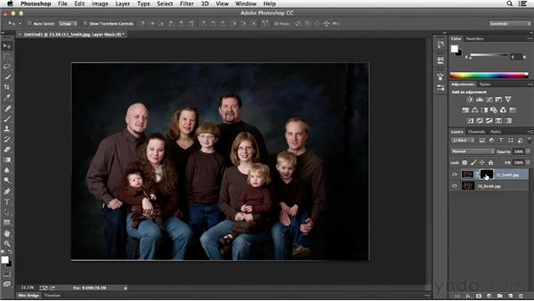 Swapping heads in a family portrait: Photoshop CC Essential Training (2013)