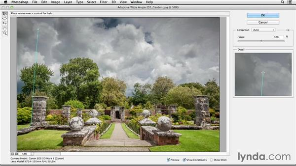 Straightening images using the Adaptive Wide Angle filter: Photoshop CC Essential Training (2013)