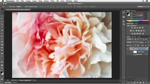 Creating a soft glow with the Gaussian Blur filter: Photoshop CC Essential Training (2013)