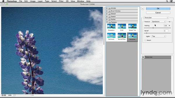 Giving an image texture with the Texturizer filter: Photoshop CC Essential Training (2013)