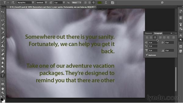Adding paragraph (area) type: Photoshop CC Essential Training (2013)