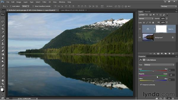Correcting color with Color Balance: Photoshop CC Image Optimization