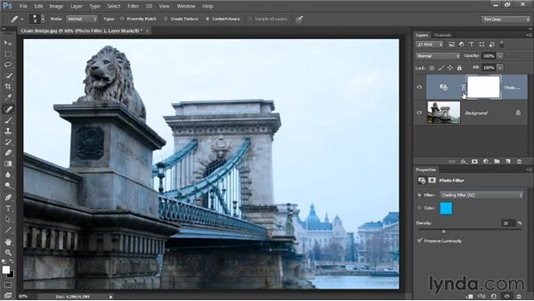 Adding a tint with Photo Filter: Photoshop CC Image Optimization