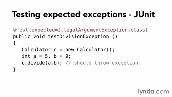 Creating a test for expected exceptions: Foundations of Programming: Test-Driven Development