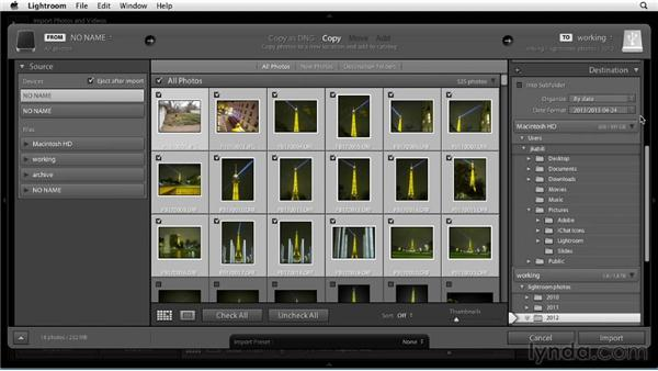 Importing photos from a camera: Up and Running with Lightroom 5