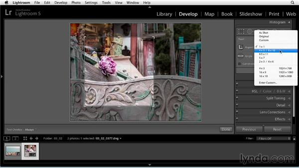 Cropping and straightening: Up and Running with Lightroom 5