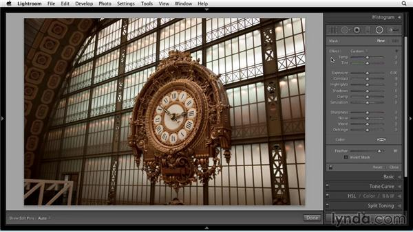 Spotlighting and vignetting with the Radial filter: Up and Running with Lightroom 5