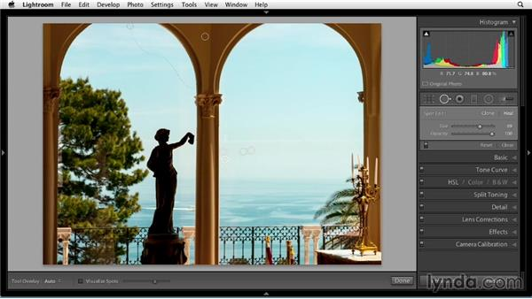 Removing content with Spot Removal brushstrokes: Up and Running with Lightroom 5