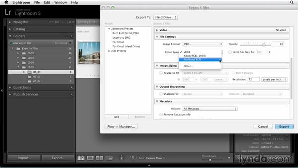 Exporting photos: Up and Running with Lightroom 5