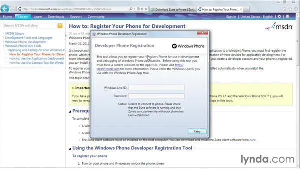 Debugging on a Windows Phone device: Windows Phone SDK Essential Training