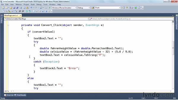 Implementing click handlers: Windows Phone SDK Essential Training