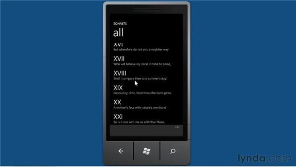 Introducing sonnets: Windows Phone SDK Essential Training