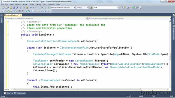 Updating the data model: Windows Phone SDK Essential Training