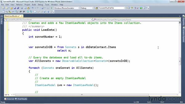 Updating the data model: Windows Phone SDK Essential Training