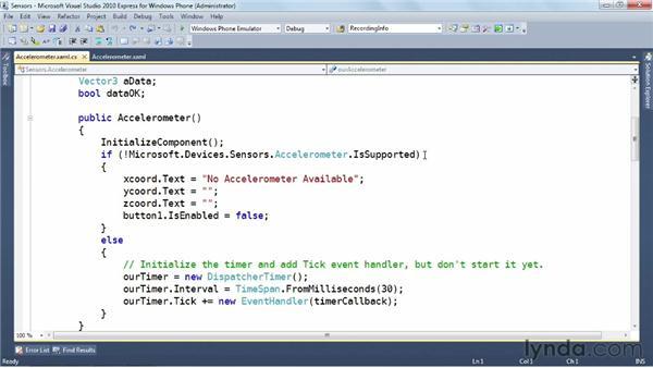 Exploring the accelerometer: Windows Phone SDK Essential Training