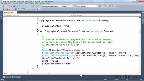 Playing a recording: Windows Phone SDK Essential Training