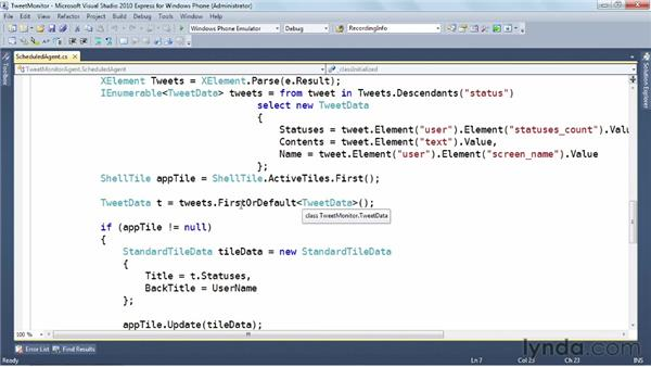 Building a background agent: Windows Phone SDK Essential Training