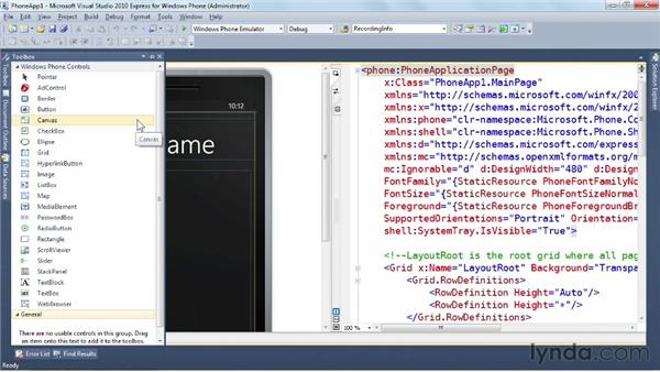 Exploring built-in controls: Windows Phone SDK Essential Training