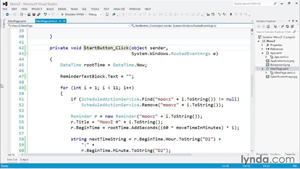 Reminders and notifications: Windows Phone SDK Essential Training