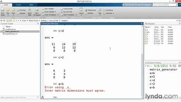 Working with matrix and scalar operations: Up and Running with MATLAB