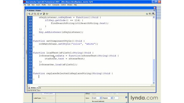 word search and replace: ActionScript 2.0 Beyond the Basics