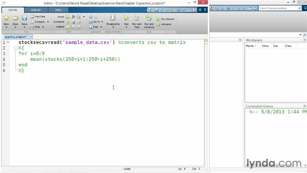 Adding program documentation: Up and Running with MATLAB