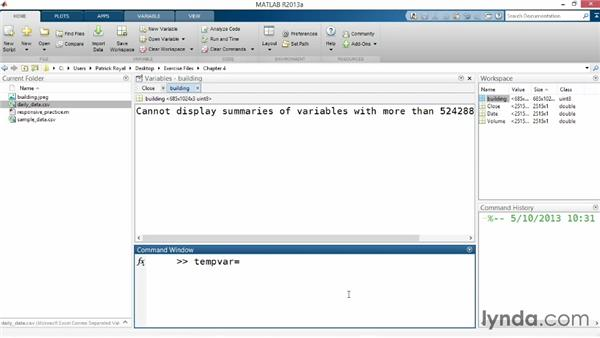 Editing variables manually: Up and Running with MATLAB