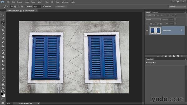 The Polygonal Lasso tool: Photoshop CC Selections and Layer Masking Workshop