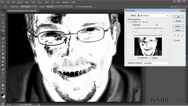 Selecting faces with Color Range: Photoshop CC Selections and Layer Masking Workshop