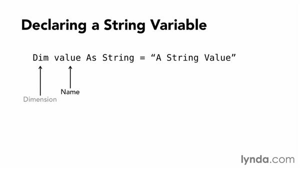 Declaring variables and data types: Visual Basic Essential Training